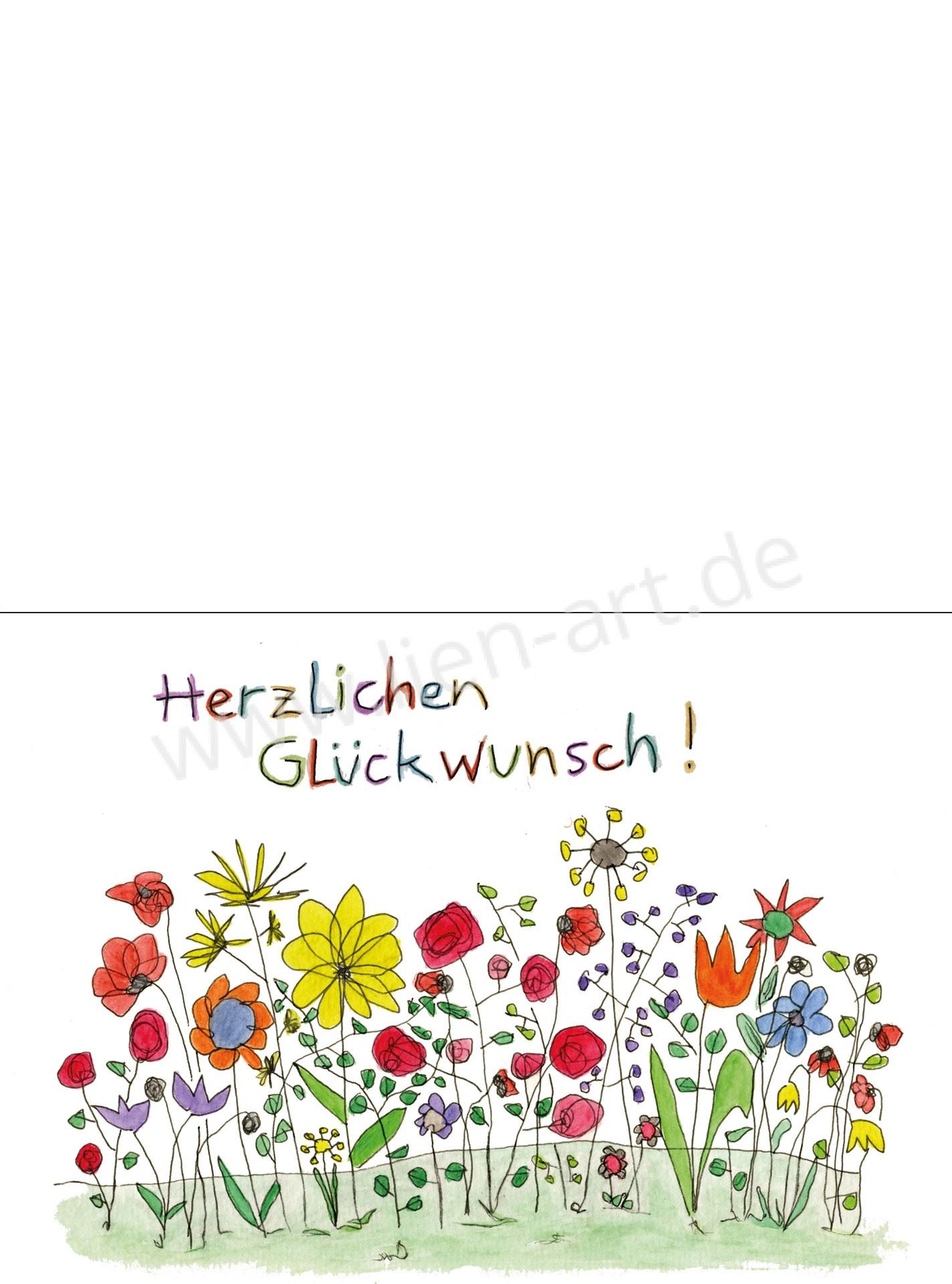 Glückwunsch Mit Blumen Klappkarte